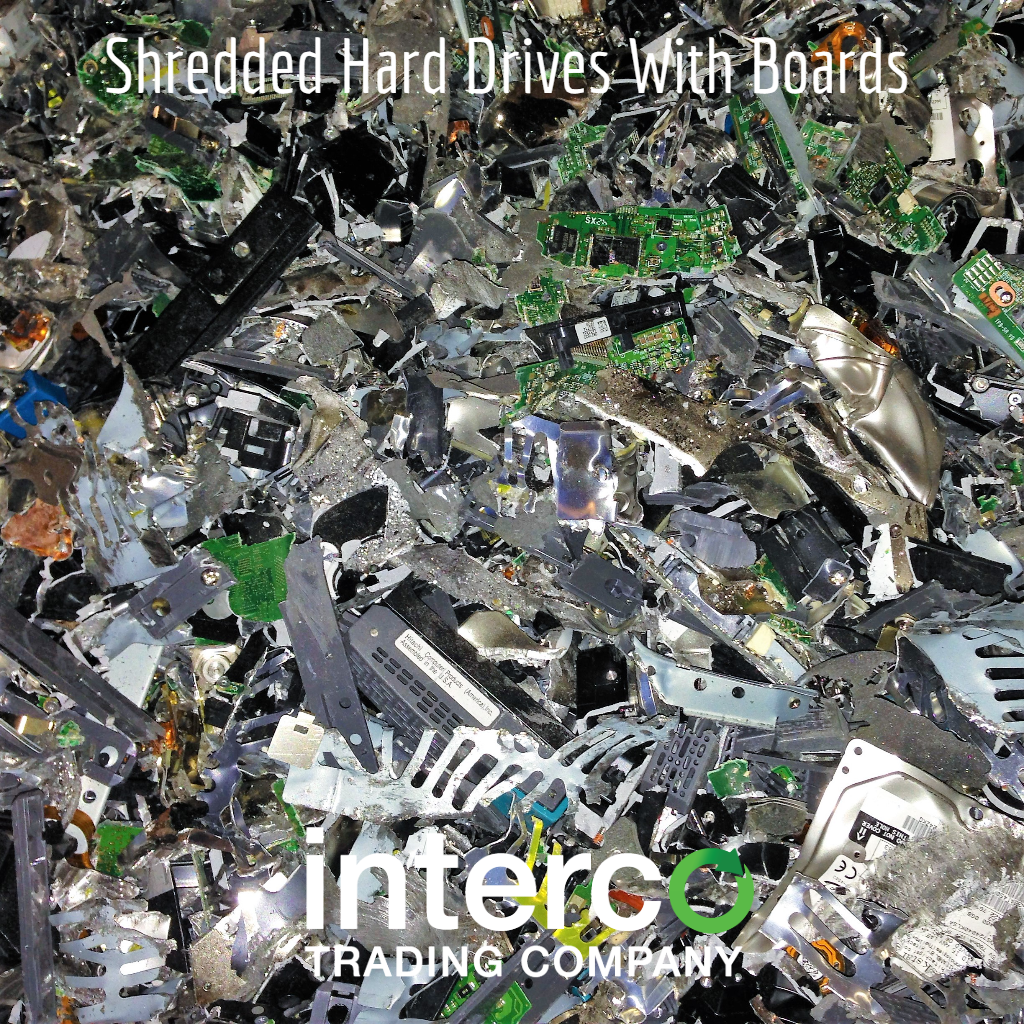 Shredded Hard Drives With Boards -- Electronics & Precious Metal Recycling