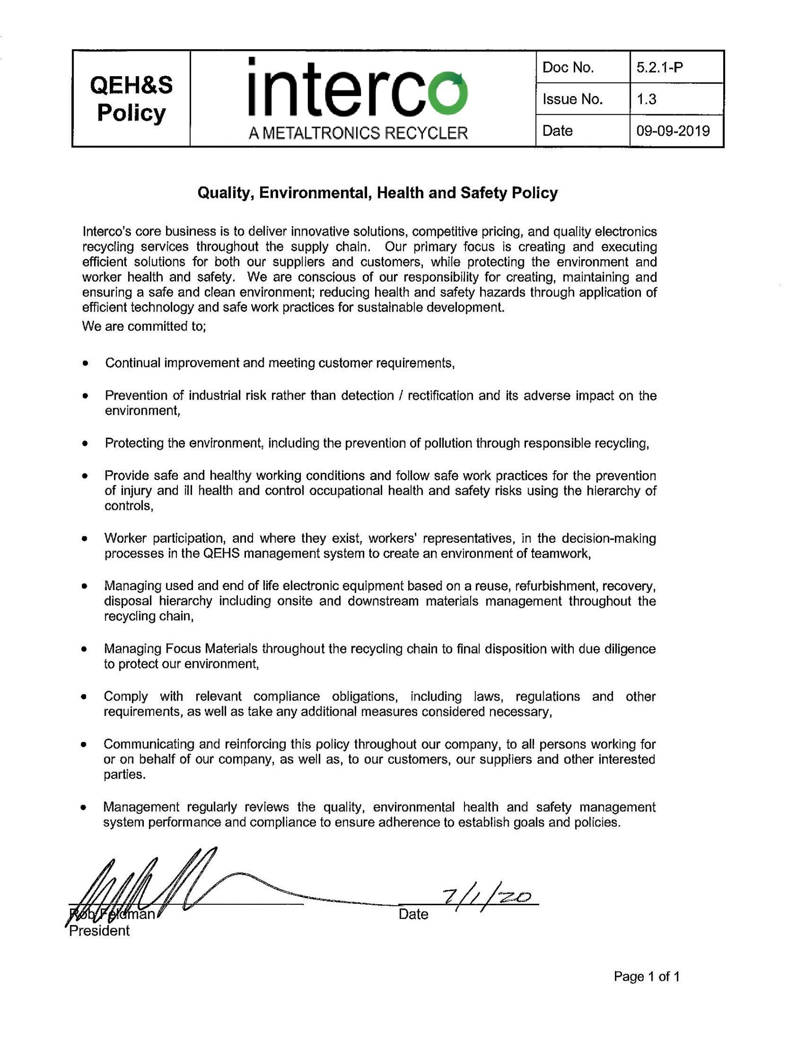 5.2.1-P QEHS Policy 1.3 - signed